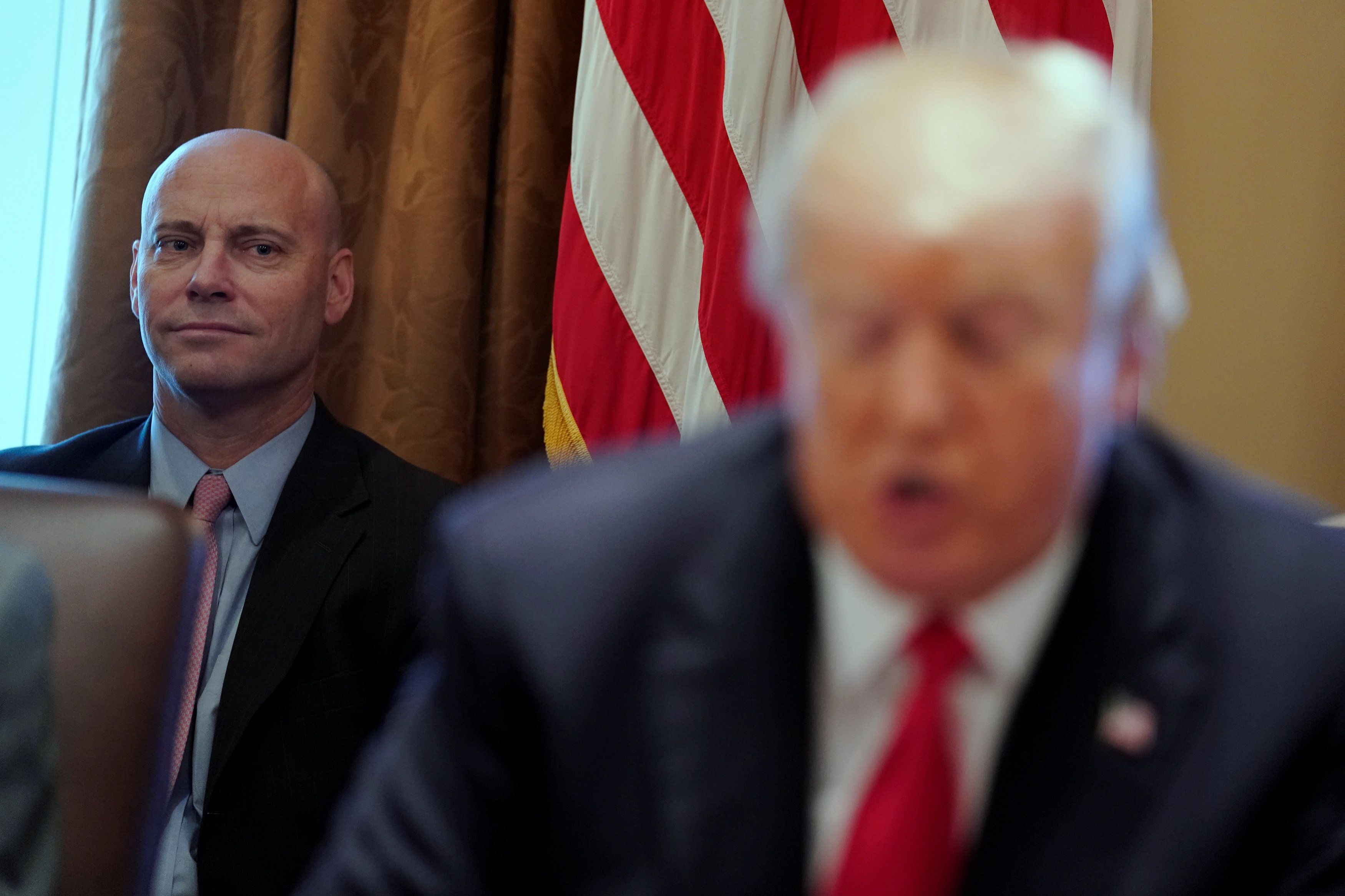 White House Director of Legislative Affairs Marc Short looks on as U.S. President Donald Trump delivers remarks before a cabinet meeting at the White House in Washington, U.S., January 10, 2018.  REUTERS/Jonathan Ernst
