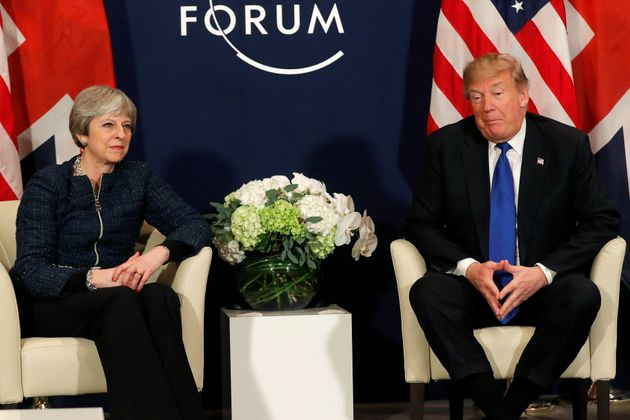 Trump meets with Prime Minister Theresa May during the World Economic Forum (WEF) annual meeting in Davos,...
