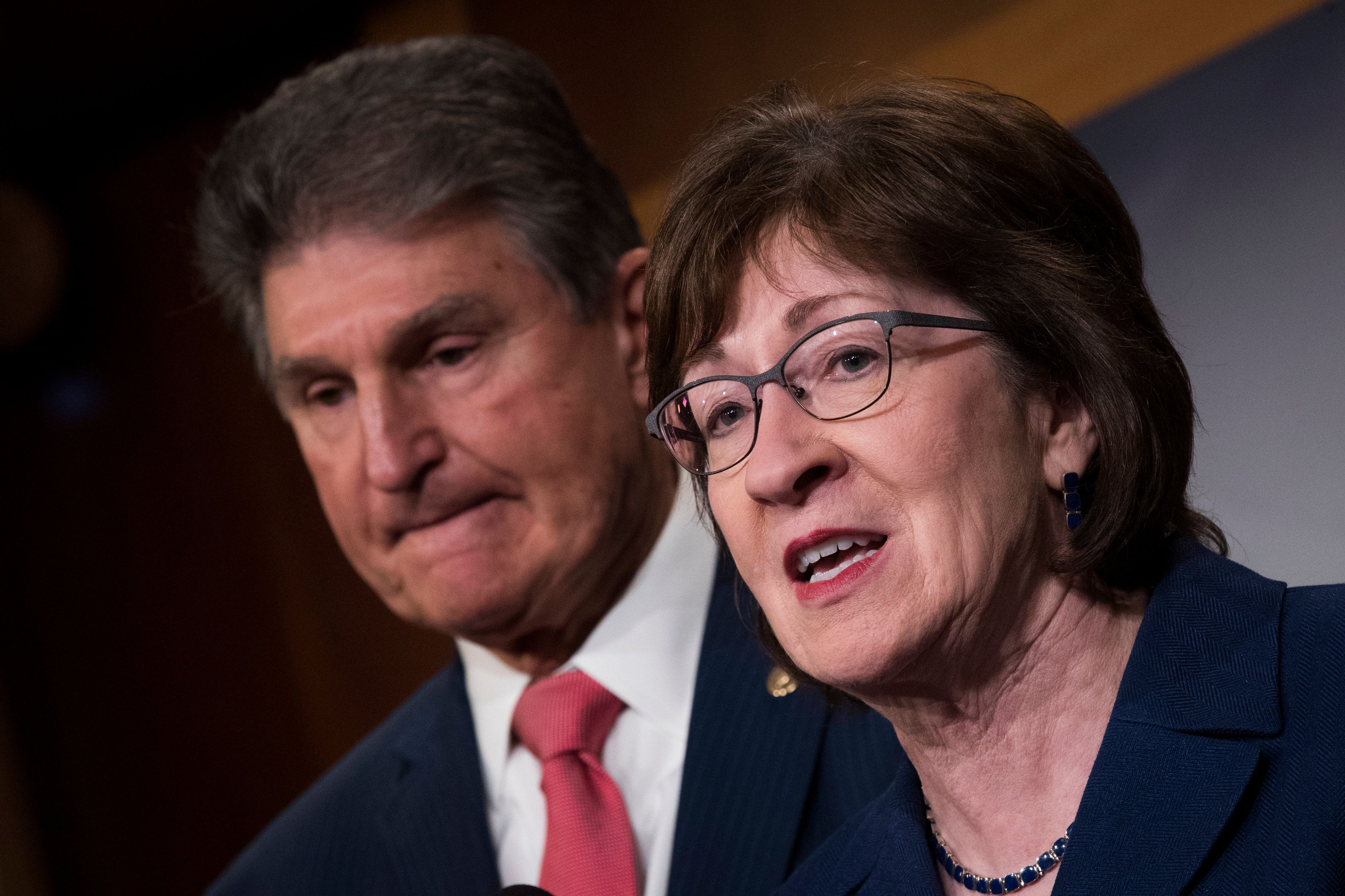 WASHINGTON, DC - JANUARY 22 : (L to R) Sen. Joe Manchin (D-WV) and Sen. Susan Collins (R-ME)  speak during a press conference after the Senate passed a procedural vote for a continuing resolution to fund the federal government, Capitol Hill, January 22, 2018 in Washington, DC. Lawmakers are continuing to seek a deal to end the government shutdown, now in day three. (Photo by Drew Angerer/Getty Images)