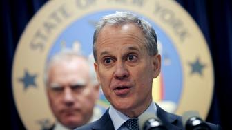 FILE PHOTO: New York Attorney General Eric Schneiderman speaks at a news conference to announce a state-based effort to combat climate change in New York, New York, U.S. March 29, 2016.  REUTERS/Mike Segar/File Photo