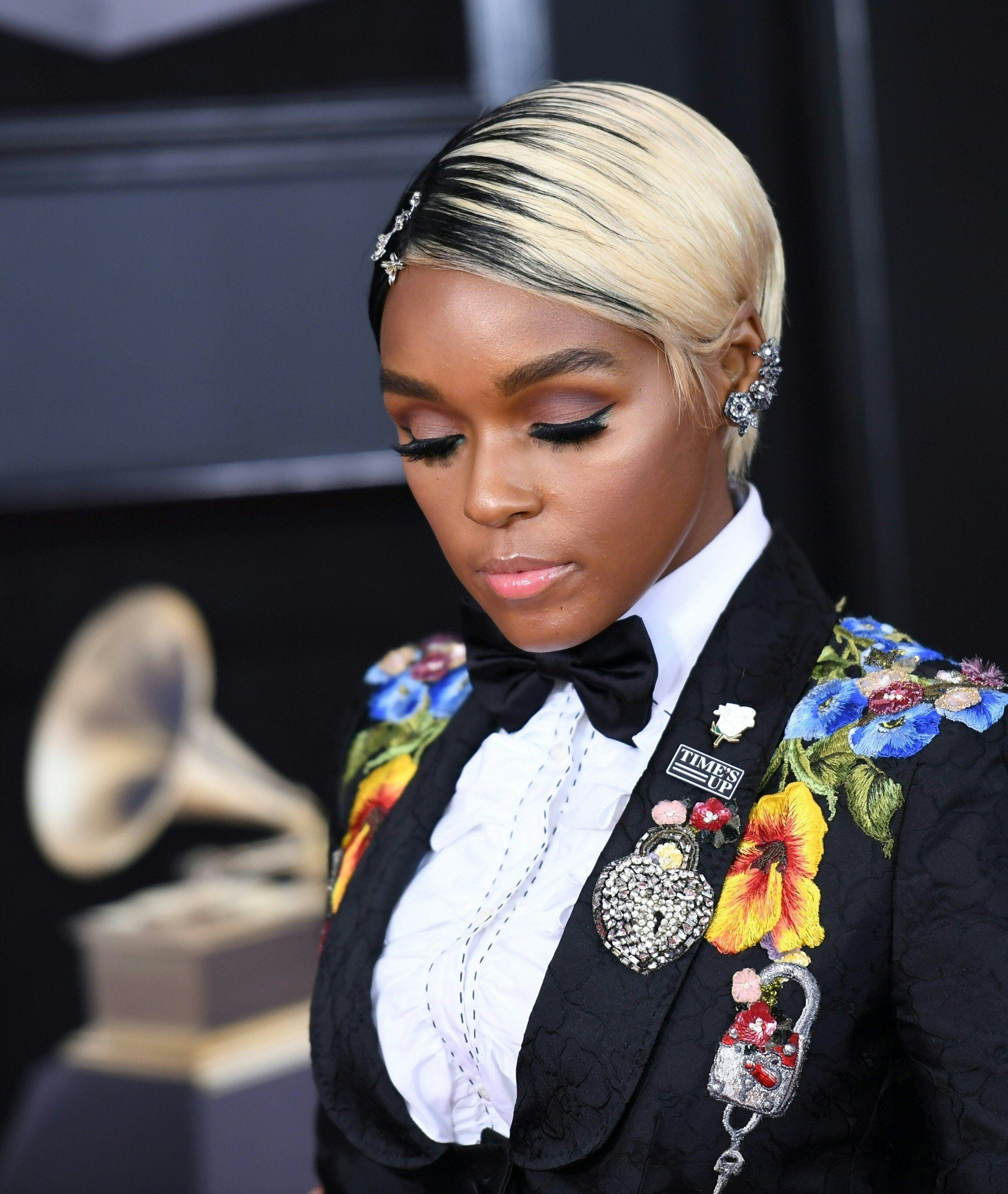 Janelle Monae arrives for the 60th Grammy Awards on January 28, 2018, in New York.  / AFP PHOTO / ANGELA WEISS        (Photo credit should read ANGELA WEISS/AFP/Getty Images)