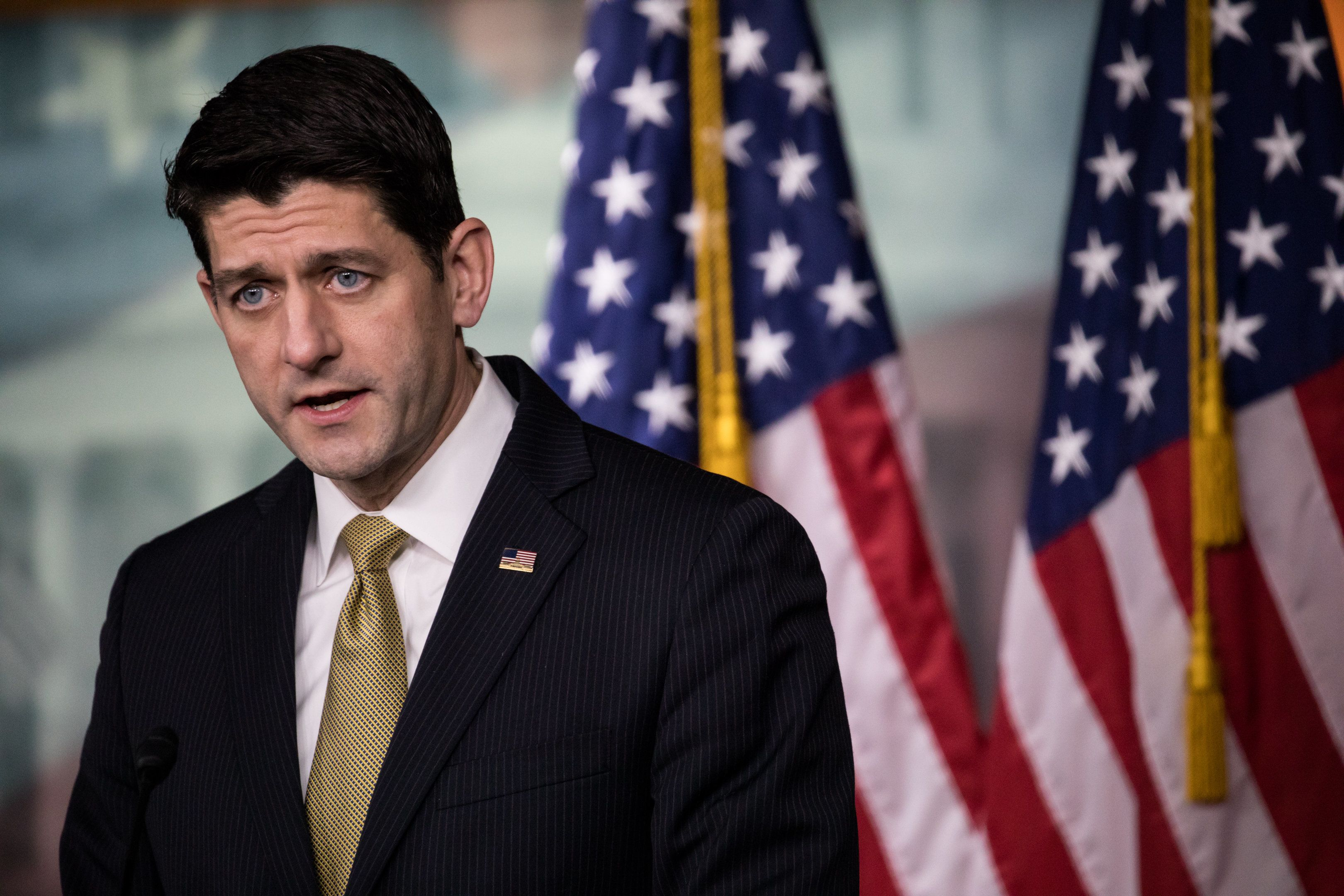 Paul Ryan, Speaker of the U.S. House of Representatives, held his weekly press conference with reporters, on Capitol Hill, on Thursday, January 18, 2018.  (Photo by Cheriss May/NurPhoto via Getty Images)