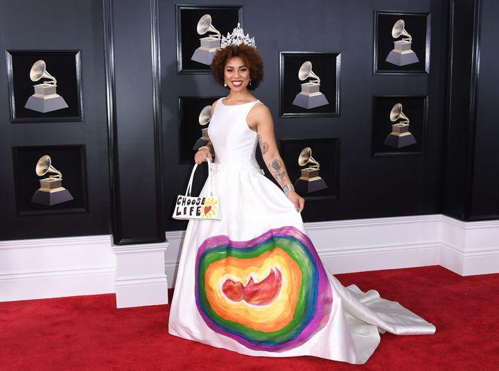 Joy Villa arrives for the 60th Grammy Awards.