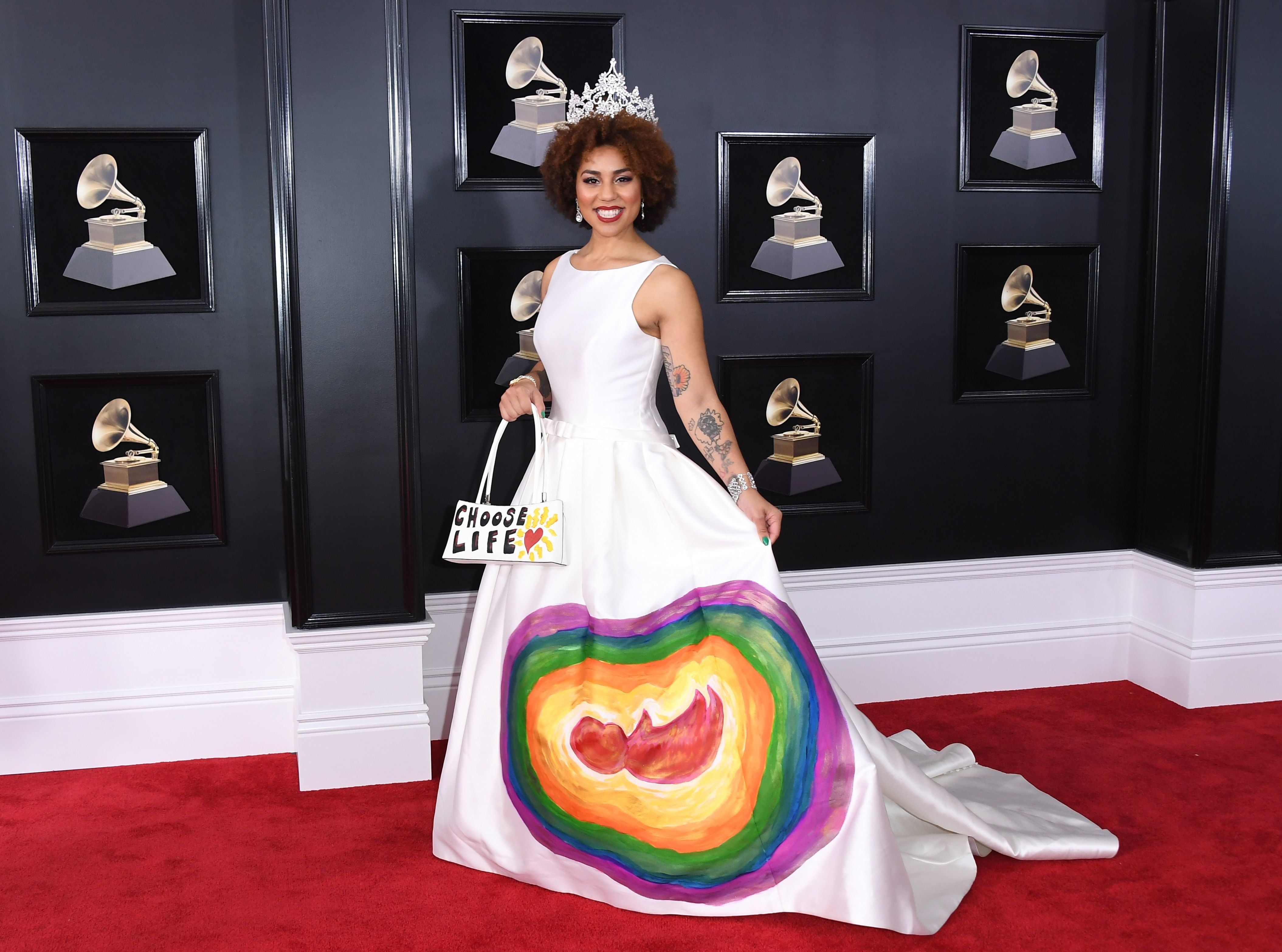 Joy Villa arrives for the 60th Grammy Awards on January 28, 2018, in New York.  / AFP PHOTO / ANGELA WEISS        (Photo credit should read ANGELA WEISS/AFP/Getty Images)