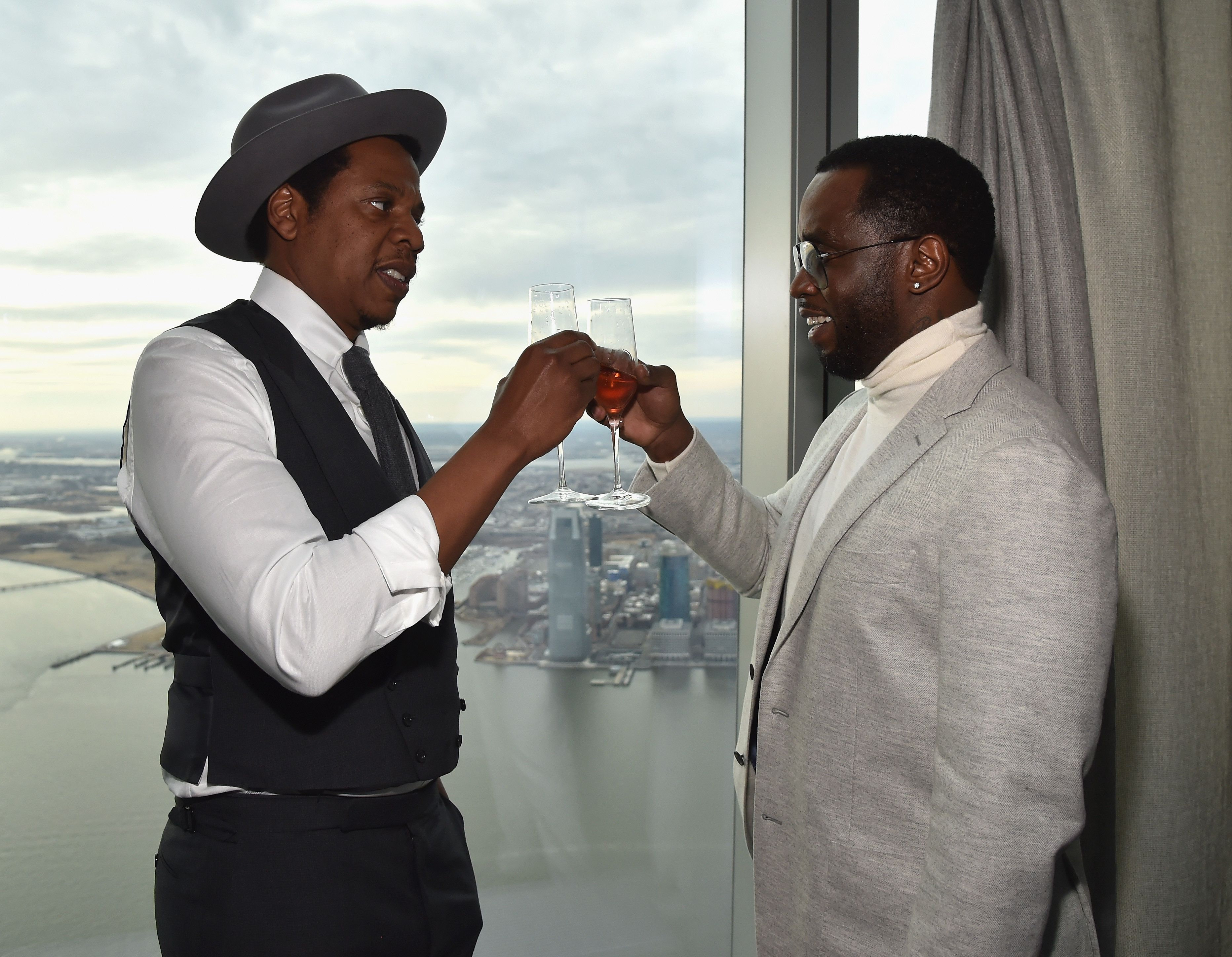 NEW YORK, NY - JANUARY 27:  Jay-Z and Sean 'Diddy' Combs attend Roc Nation THE BRUNCH at One World Observatory on January 27, 2018 in New York City.  (Photo by Kevin Mazur/Getty Images for Roc Nation)