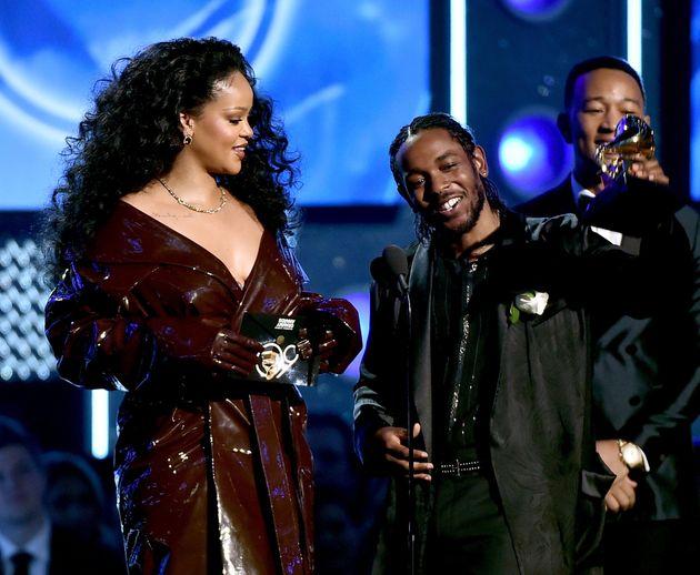 Rihanna wore a shiny trench coat at the