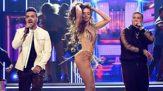 NEW YORK, NY - JANUARY 28:  Recording artiss Luis Fonsi, Zuleyka Rivera and recording artist Daddy Yankee perform onstage during the 60th Annual GRAMMY Awards at Madison Square Garden on January 28, 2018 in New York City.  (Photo by Kevin Mazur/Getty Images for NARAS)