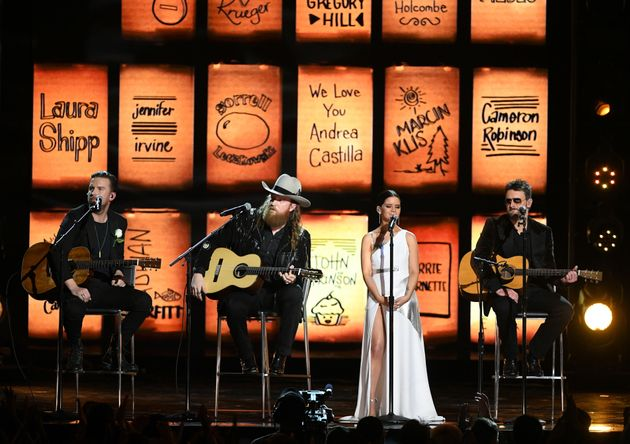 Recording artists T.J. Osborne, John Osborne, Maren Morris and Eric Church perform onstage during the...