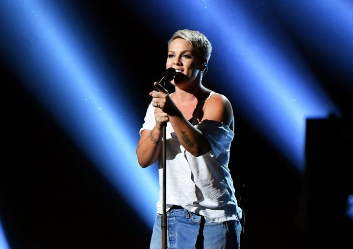 Pink performs at the 2018 Grammy Awards on Jan. 28 in New York.