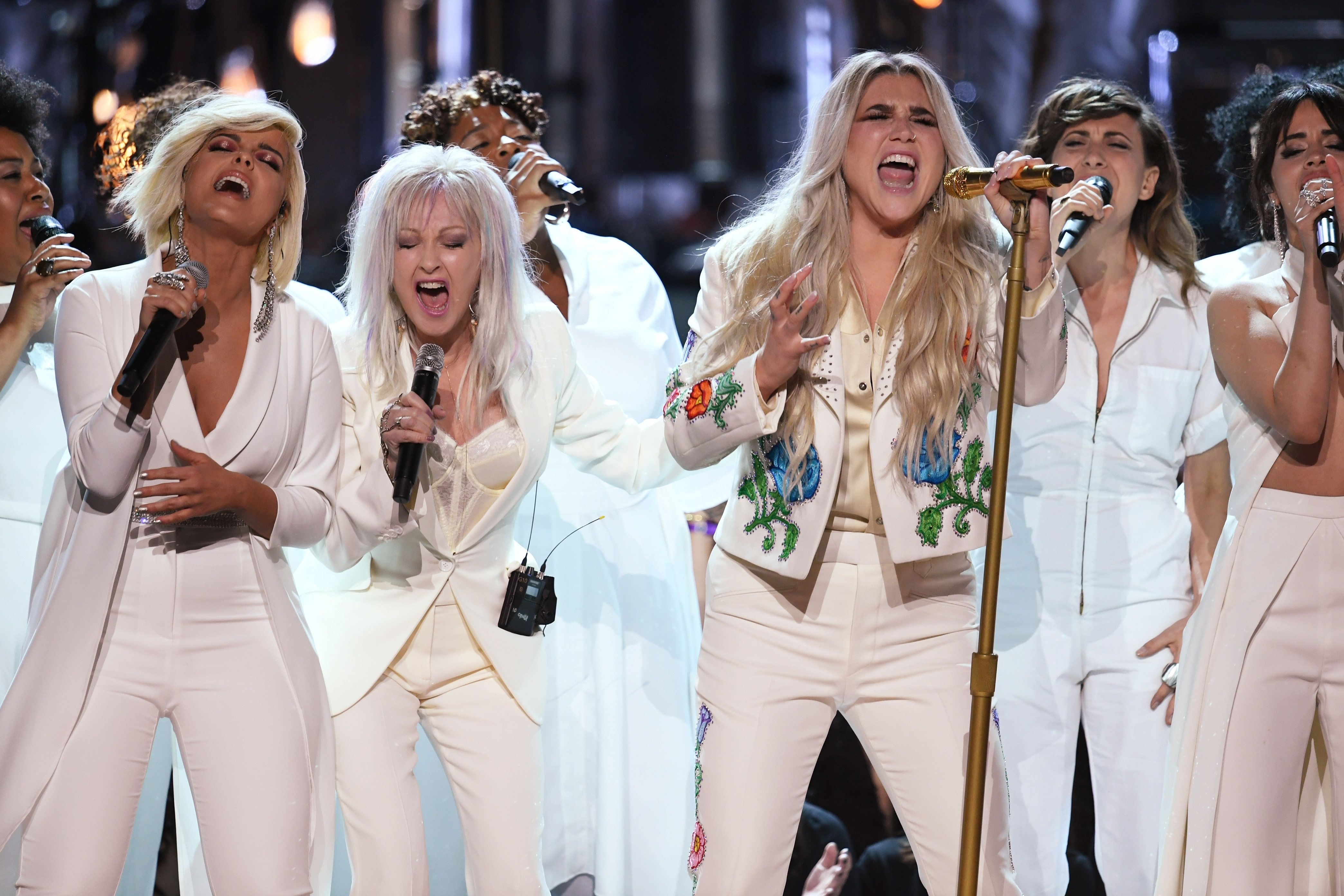 NEW YORK, NY - JANUARY 28:  Recording artist Kesha (C) performs with (L-R) Bebe Rexha, Cyndi Lauper and Camila Cabello onstage during the 60th Annual GRAMMY Awards at Madison Square Garden on January 28, 2018 in New York City.  (Photo by Kevin Winter/Getty Images for NARAS)