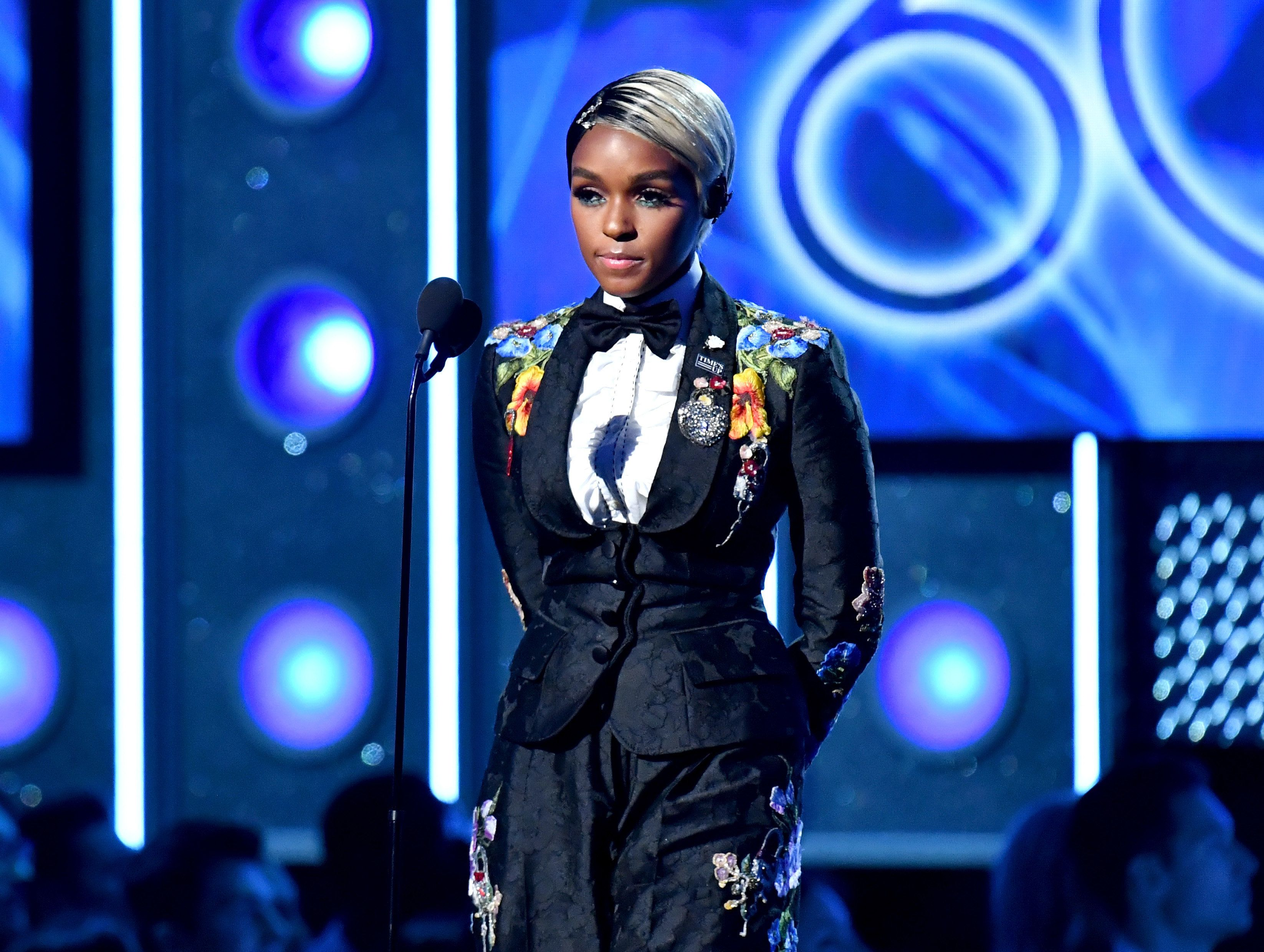 NEW YORK, NY - JANUARY 28:  Recording artist Janelle Monae speaks onstage during the 60th Annual GRAMMY Awards at Madison Square Garden on January 28, 2018 in New York City.  (Photo by Jeff Kravitz/FilmMagic)