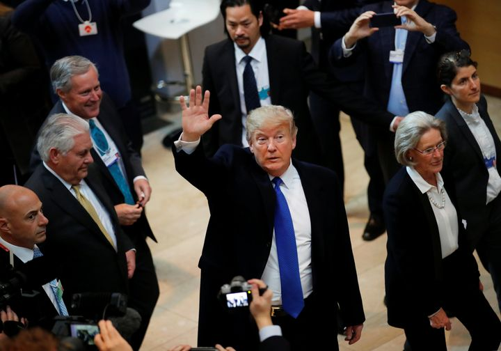President Donald Trump arrives at the World Economic Forum annual meeting in Davos, Switzerland, on Jan. 25.