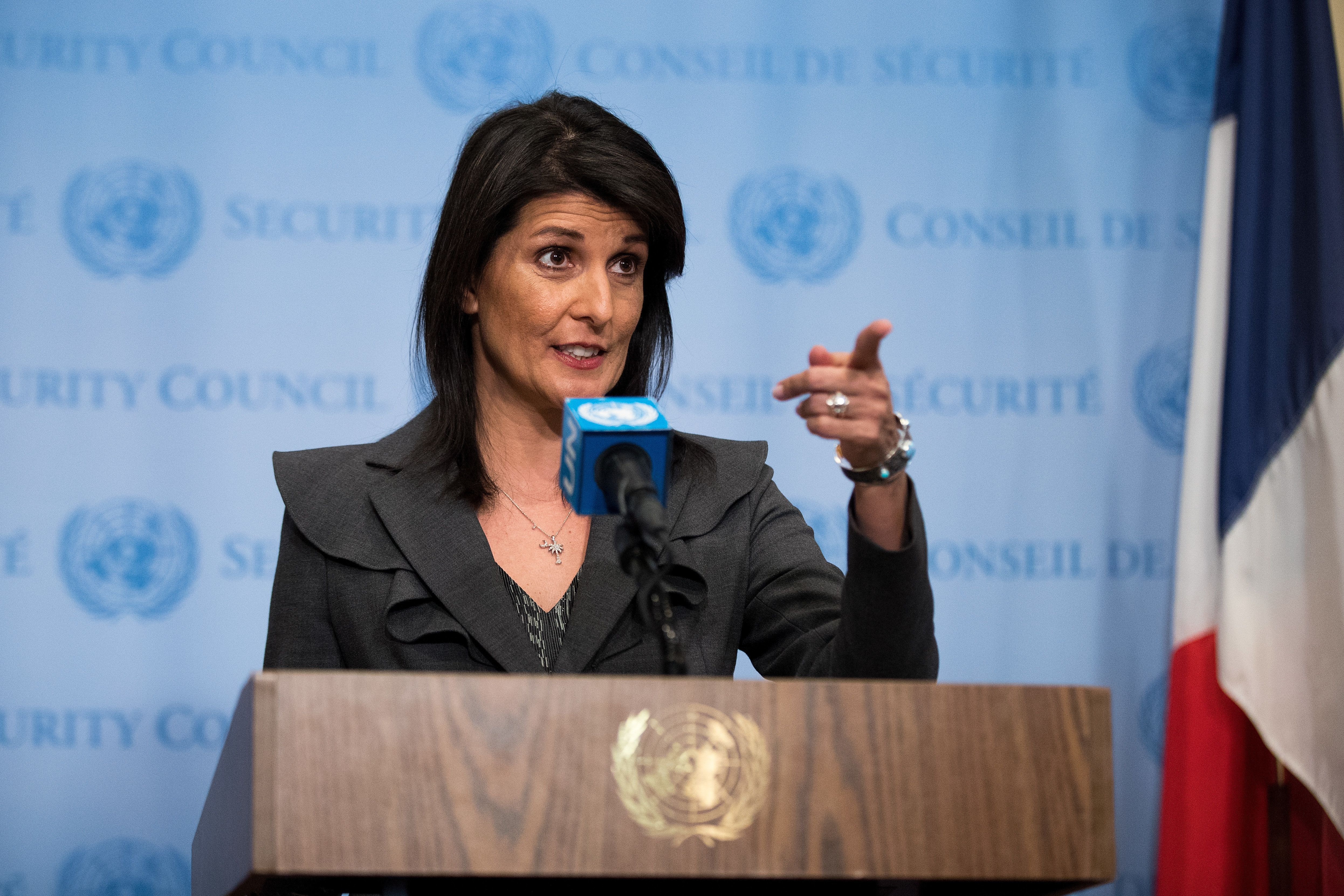 NEW YORK, NY - JANUARY 02: U.S. ambassador to the United Nations Nikki Haley speaks during a brief press availability at United Nations headquarters, January 2, 2018 in New York City. She discussed protests in Iran and the North Korea nuclear threat. (Photo by Drew Angerer/Getty Images)