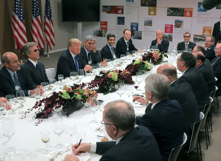 President Donald Trump at a dinner with business leaders during the World Economic Forum at Davos, Switzerland, on Jan. 25.