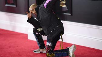 Jaden Smith arrives for the 60th Grammy Awards on January 28, 2018, in New York.  / AFP PHOTO / Jewel SAMAD        (Photo credit should read JEWEL SAMAD/AFP/Getty Images)