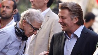 """U.S. director Woody Allen (L) talks with Alec Baldwin during the shooting of his next movie """"The Bop Decameron"""" in downtown Rome July 25, 2011. REUTERS/Remo Casilli   (ITALY - Tags: ENTERTAINMENT)"""