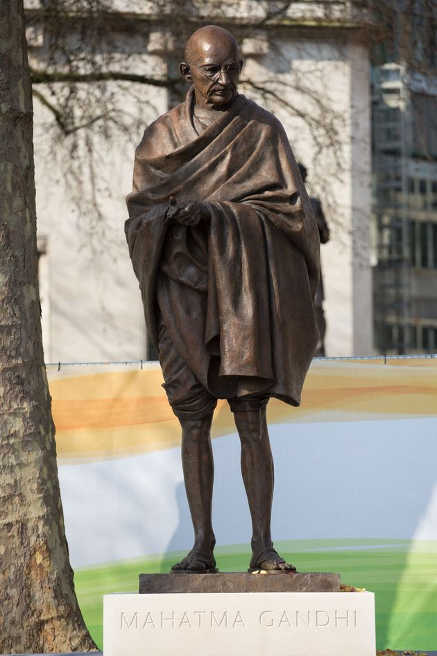 The Gandhi statue unveiled in Parliament Square, London in