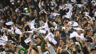 PHILADELPHIA, PA - JANUARY 21: Philadelphia Eagles fans wave towels during the NFC Championship game between the Philadelphia Eagles and the Minnesota Vikings on January 21, 2017 at Lincoln Financial Field in Philadelphia, PA. Eagles won 38-7.(Photo by Andy Lewis/Icon Sportswire via Getty Images)