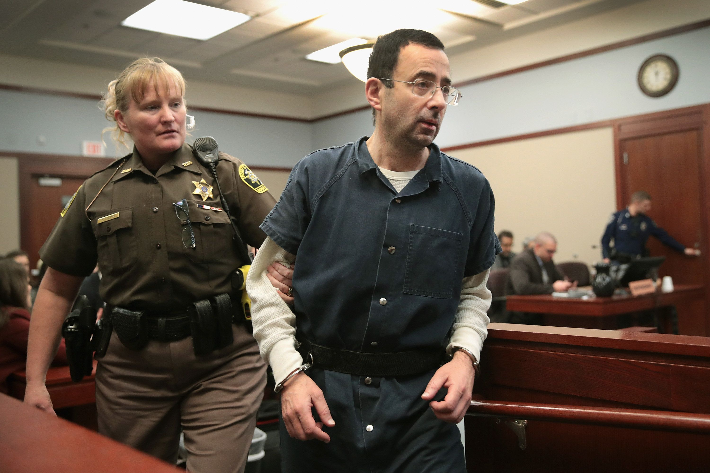 Larry Nassar in court during his sentencing hearing on Jan. 17, 2018.