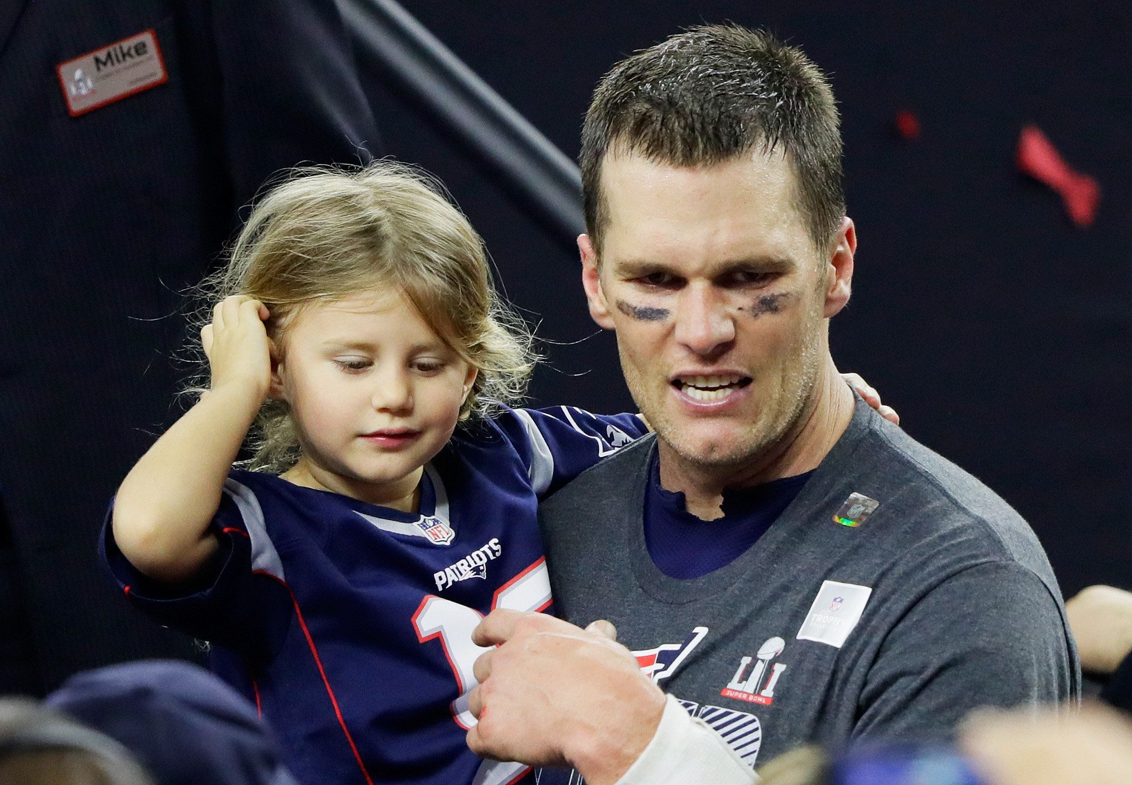 HOUSTON, TX - FEBRUARY 05:  Tom Brady #12 of the New England Patriots celebrates with his daughter Vivian after defeating the Atlanta Falcons 34-28 in overtime to win Super Bowl 51 at NRG Stadium on February 5, 2017 in Houston, Texas.  (Photo by Jamie Squire/Getty Images)