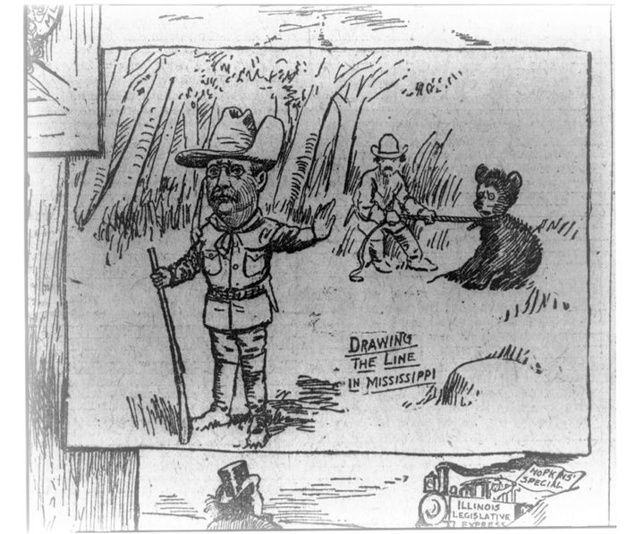 This 1902 cartoon depicting Roosevelt's refusal to kill a captured bear appeared in The Washington Post.