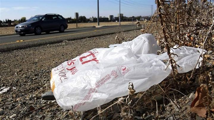 A plastic bag sits along a roadside in California, where the first statewide ban on plastic bags in the U.S. was enacted.