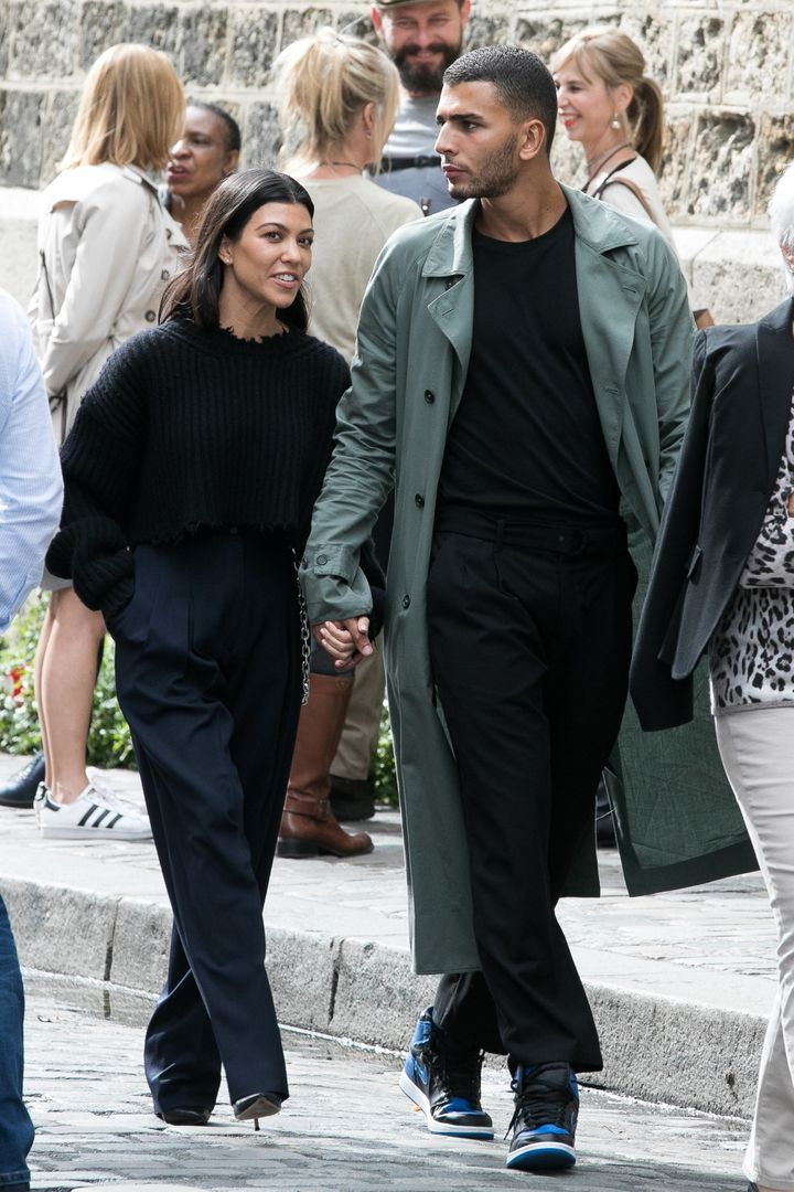 Kourtney Kardashian and Younes Bendjima stroll together in Paris in September 2017.