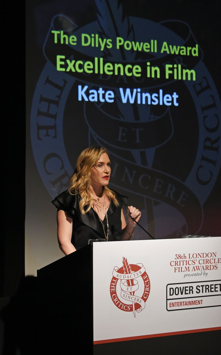 Winslet accepts the Dilys Powell Award for Excellence in Film at the London Critics' Circle Film Awards on Sunday night