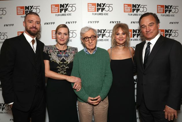 From left: Justin Timberlake, Kate Winslet, Woody Allen, Juno Temple and Jim Belushi attend the New...