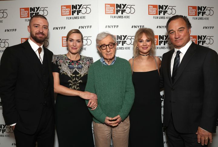 From left: Justin Timberlake, Kate Winslet, Woody Allen, Juno Temple and Jim Belushi attend the New York Film Festival p