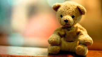 A melancholic teddy bear sits attentively and waits. And watches.