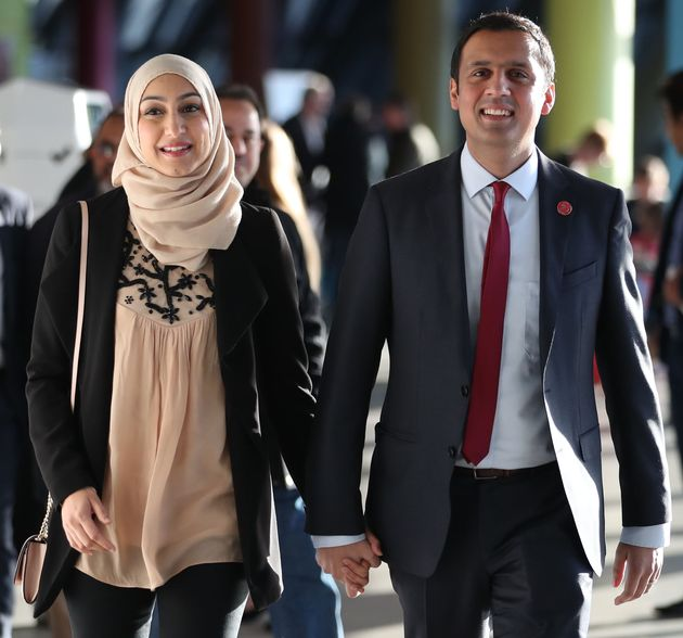 Scottish Labour MSP Anas Sarwar with his wife Furheen in