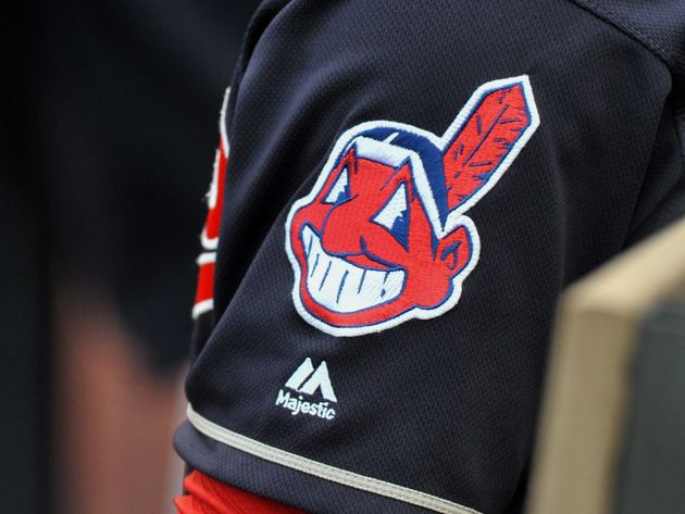 The controversial Chief Wahoo logo is seen on the sleeve of a Cleveland Indians player during a game...