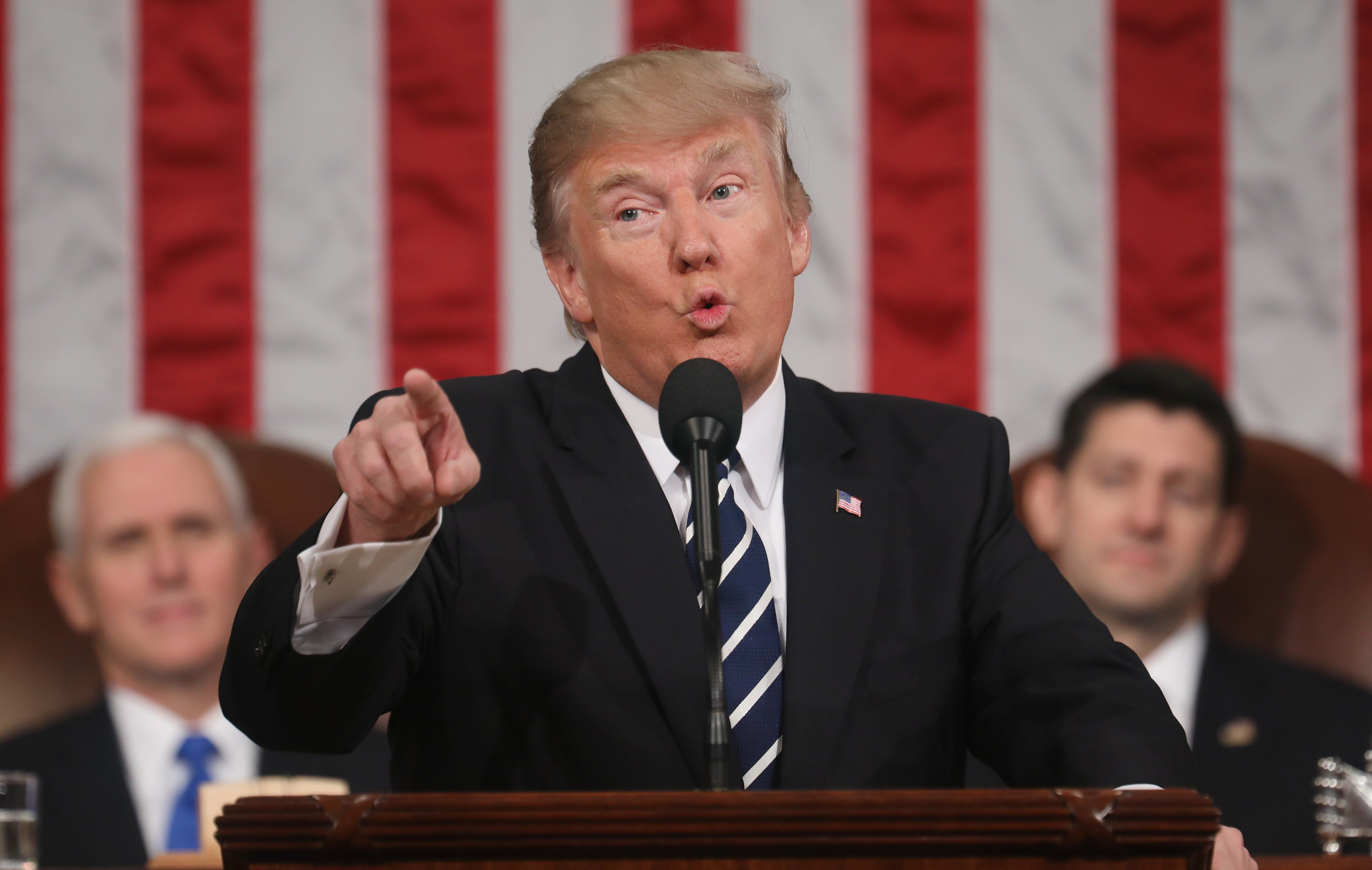 WASHINGTON, USA - FEBRUARY 28: (----EDITORIAL USE ONLY  MANDATORY CREDIT - 'JIM LO SCALZO / EPA / POOL' - NO MARKETING NO ADVERTISING CAMPAIGNS - DISTRIBUTED AS A SERVICE TO CLIENTS----) US President Donald J. Trump delivers his first address to a joint session of Congress from the floor of the House of Representatives in Washington, United States on February 28, 2017. Traditionally the first address to a joint session of Congress by a newly-elected president is not referred to as a State of the Union.  (Photo by Jim Lo Scalzo/EPA/Pool/Anadolu Agency/Getty Images)