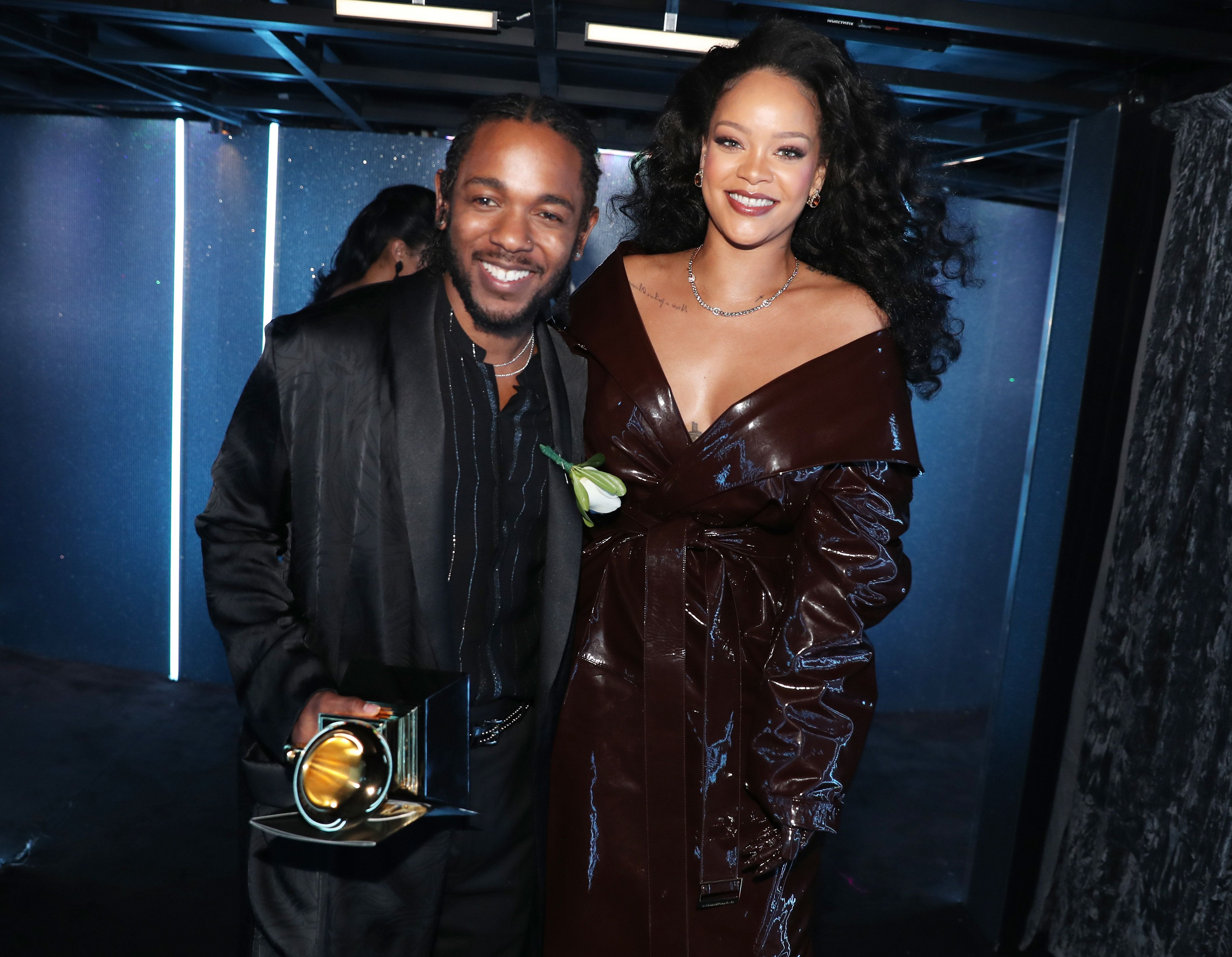 "Rihanna and Kendrick Lamar -- winners of Best Rap/Sung Performance for ""Loyalty"" --  on Jan. 28, 2018."
