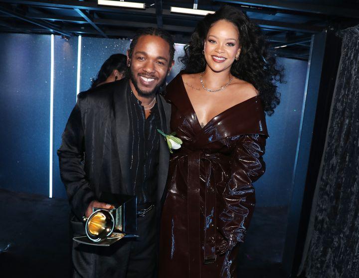 "Rihanna and Kendrick Lamar -- winners of Best Rap/Sung Performance for ""Loyalty"" --on Jan. 28, 2018."