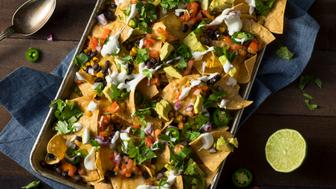 Homemade Loaded Sheet Pan Nachos with Cilantro Lime Tomato and Onion