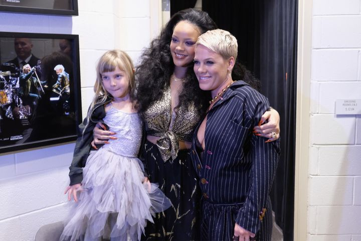 Rihanna, Pink and Pink's daughter, Willow, at the Grammys.
