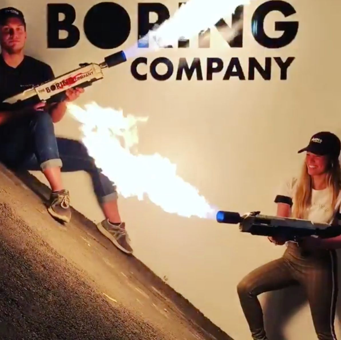 The Boring Company flamethrowers in action