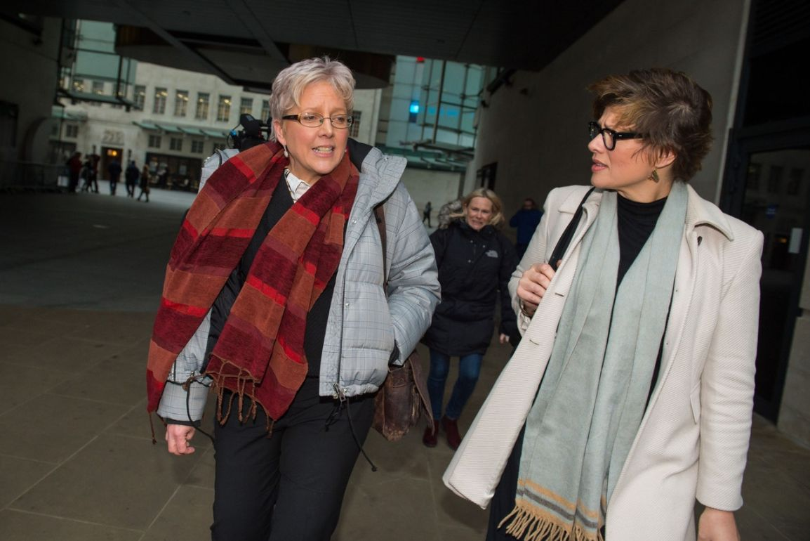 Journalist Carrie Gracie pictured outside BBC Broadcasting House with Kate Silverton after she rejected...