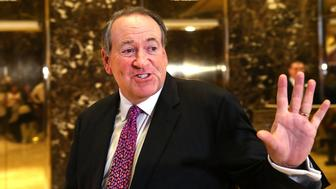 NEW YORK, NY - NOVEMBER 18:  Arkansas Governor Mike Huckabee leaves Trump Tower on November 18, 2016 in New York City. it has been rumored than Huckabee is President-elect Donald Trump's pick for ambassador to Israel. President-elect Trump and his transition team are in the process of filling cabinet and other high level positions for the new administration.  (Photo by Spencer Platt/Getty Images)