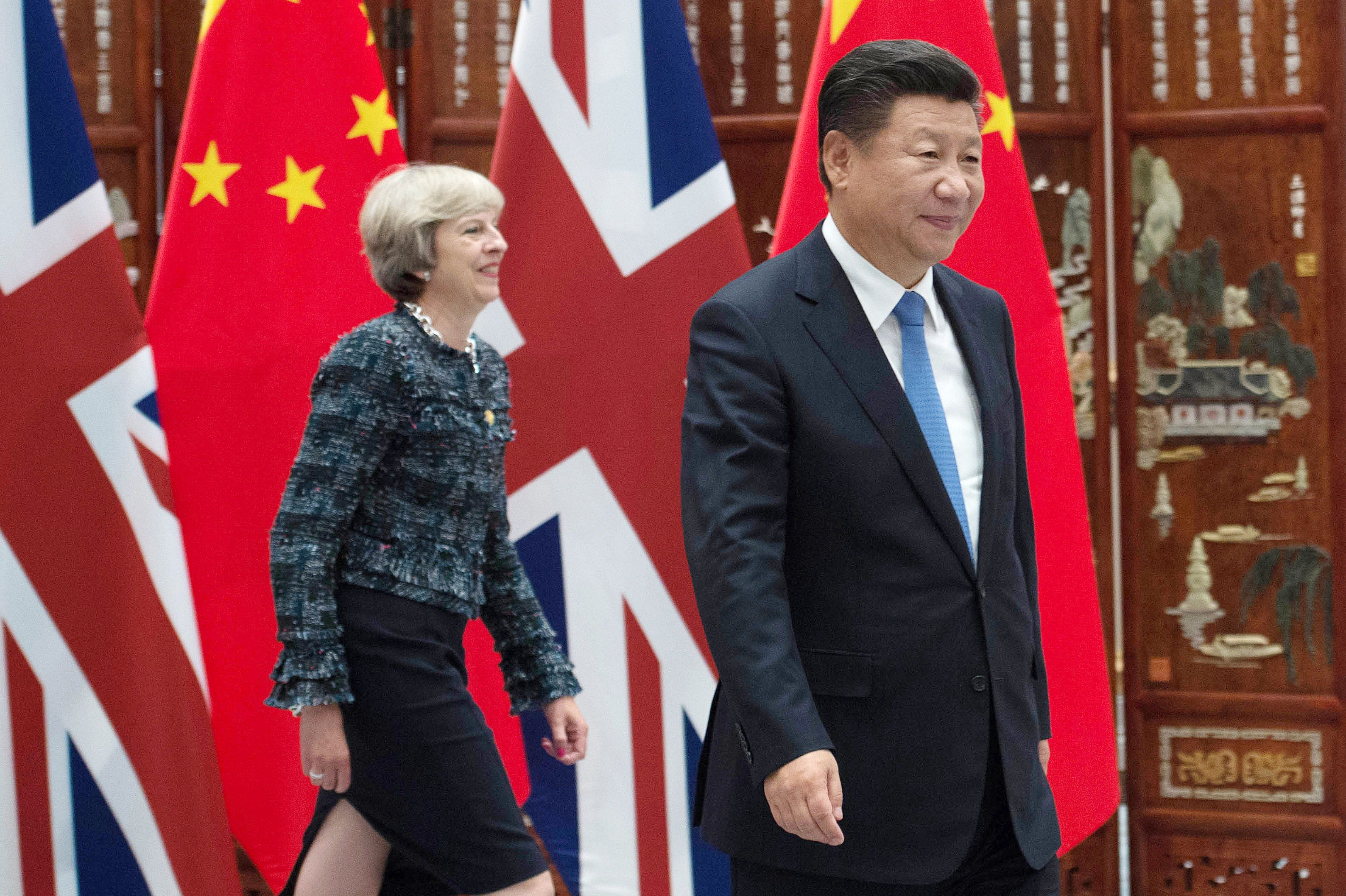 Theresa May and Chinese President Xi Jinping