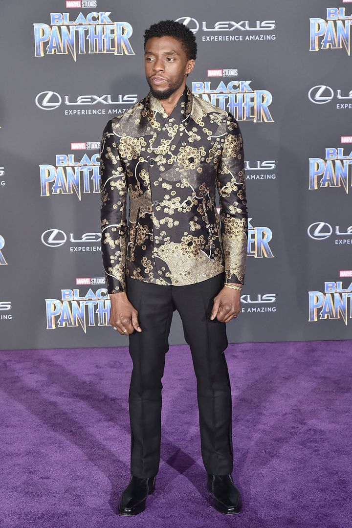 "Chadwick Boseman attends the premiere of ""Black Panther"" on Jan. 29 in Hollywood."