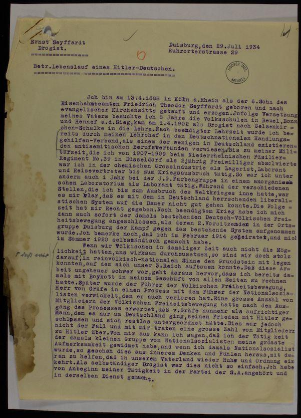 hoover institution library archives betreff lebenslauf eines hitler deutschen - Lebenslauf Hitler