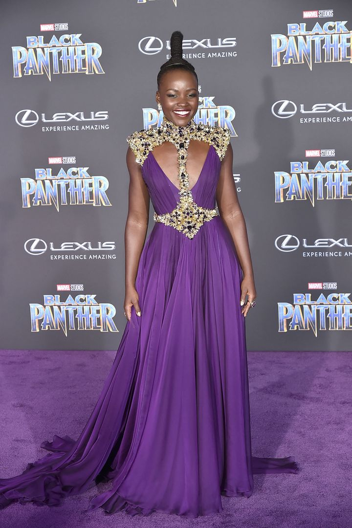 "Lupita Nyong'o attends the premiere of ""Black Panther"" on Jan. 29 in Hollywood."