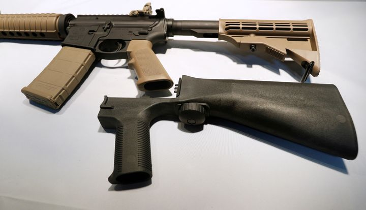 A bump stock replaces the standard stock of a semi-automatic rifle to increase the firing rate.