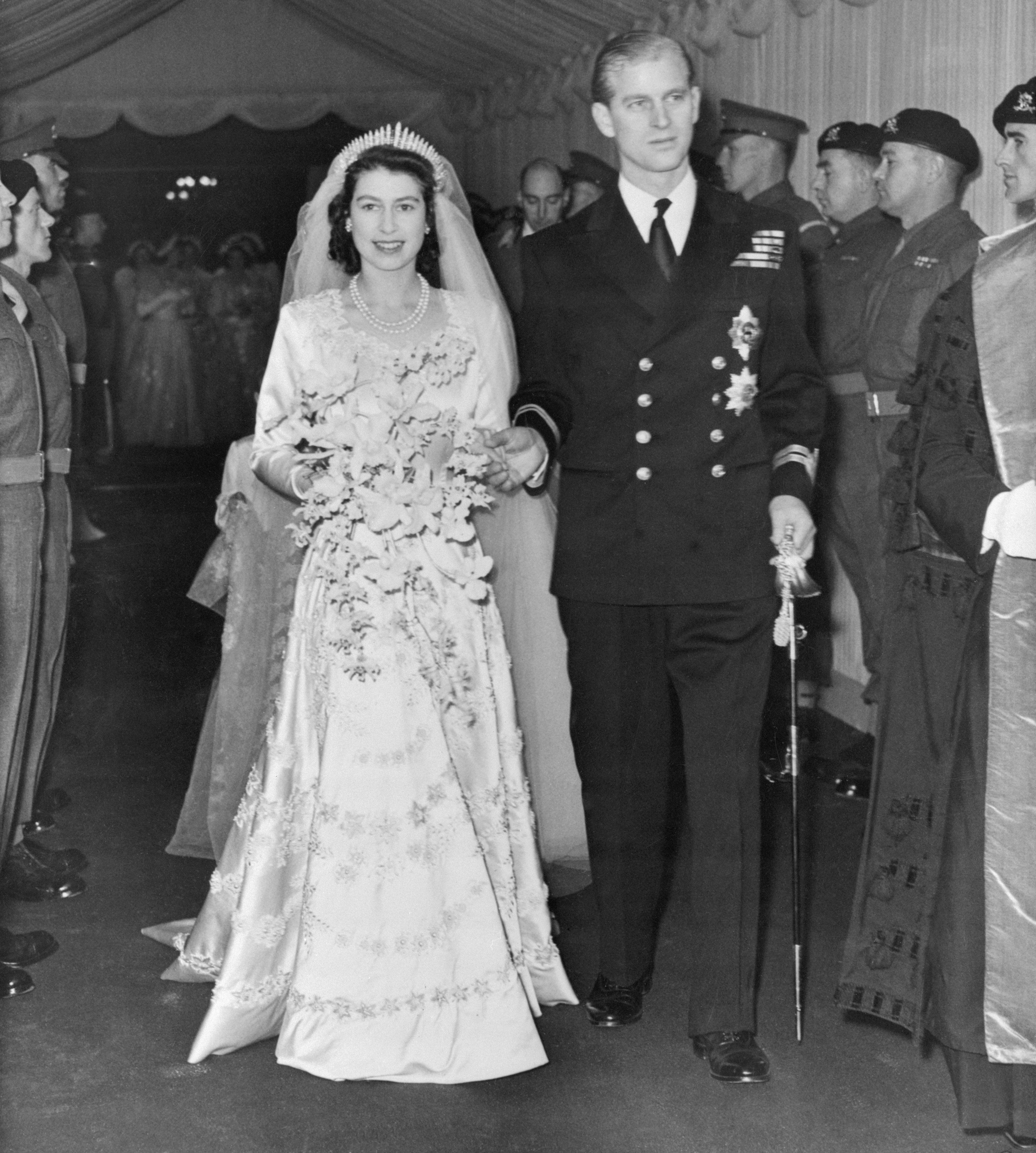The Queen and Duke of Edinburgh on their wedding day in