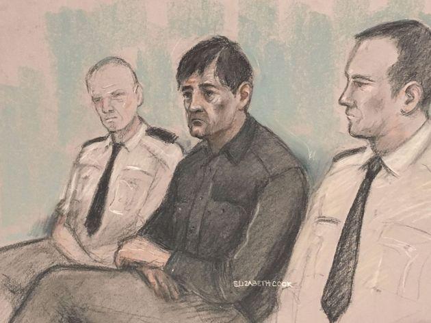 A court artist sketch of Darren Osborne (centre) at Woolwich Crown Court in