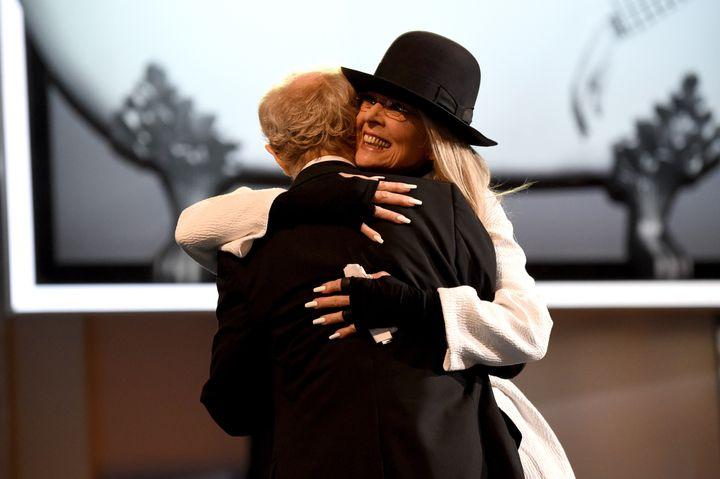 Woody Allenhugs Diane Keaton at American Film Institute's 45th Life Achievement Award Gala Tribute on June 8, 2017, whi