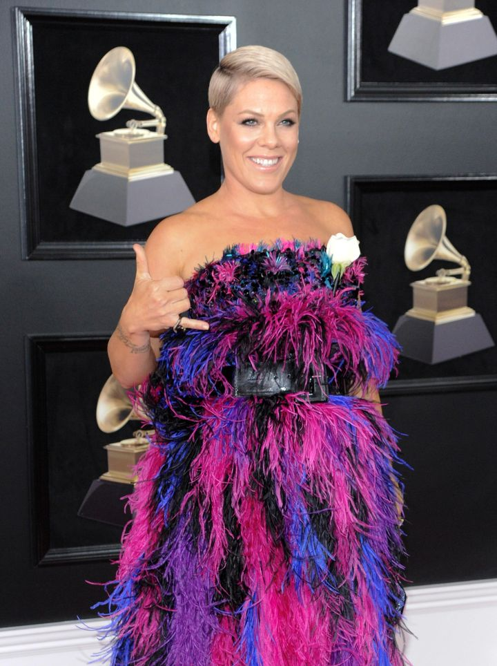 Pink at the 2018 Grammys.